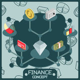 Finance color isometric concept icons. Vector illustration, EPS 10 Royalty Free Stock Photos