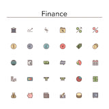 Finance Colored Line Icons. Set. Vector illustration Stock Image