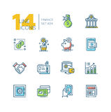 Finance - colored modern single line icons set Stock Image