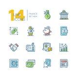 Finance - colored modern single line icons set. Finance - colored vector modern single line icons set. Money bag, dollar, euro, bank, credit card, safe Stock Image