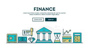 Finance, colorful concept header, flat design thin line style. Vector illustration Stock Photo