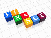 Finance in colour 2. 3d colour boxes with text - finance, word Stock Images