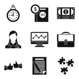 Finance company icons set, simple style. Finance company icons set. Simple set of 9 finance company vector icons for web isolated on white background Royalty Free Stock Photo