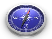 Finance Compass. White background, 3d render Royalty Free Stock Photography