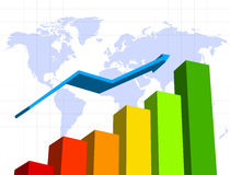 Finance concept. With diagram and world map Stock Photos