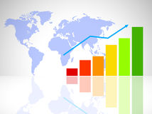 Finance concept. With diagram and world map Royalty Free Stock Images