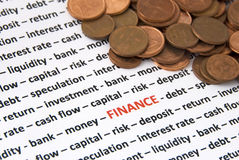 Finance concept. A lot of topics about finance concept (words in red) and money - concept background. The focus is only on the word finance, in red Stock Photo