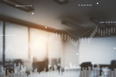 Finance concept. Abstract blurry office interior with forex chart. Finance concept. Double exposure. Toned image Royalty Free Stock Images