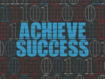 Finance concept: Achieve Success on wall background. Finance concept: Painted blue text Achieve Success on Black Brick wall background with Binary Code Royalty Free Stock Image