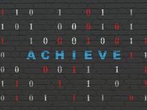 Finance concept: Achieve on wall background. Finance concept: Painted blue text Achieve on Black Brick wall background with Binary Code Stock Images