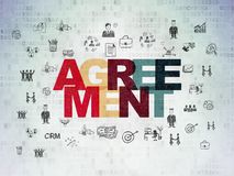 Finance concept: Agreement on Digital Data Paper background. Finance concept: Painted multicolor text Agreement on Digital Data Paper background with  Hand Drawn Stock Image