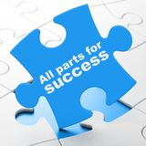 Finance concept: All parts for Success on puzzle background. Finance concept: All parts for Success on Blue puzzle pieces background, 3D rendering Stock Image