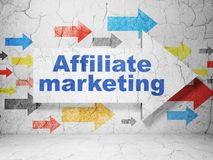 Finance concept: arrow with Affiliate Marketing on grunge wall background. Finance concept:  arrow with Affiliate Marketing on grunge textured concrete wall Royalty Free Stock Photography