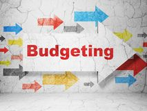 Finance concept: arrow with budgeting on grunge wall background. Finance concept:  arrow with Budgeting on grunge textured concrete wall background, 3D rendering Royalty Free Stock Photo