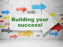 Finance concept: arrow with Building your Success! on grunge wall background. Finance concept:  arrow with Building your Success! on grunge textured concrete Stock Photos