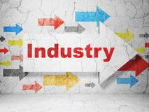 Finance concept: arrow with Industry on grunge wall background. Finance concept:  arrow with Industry on grunge textured concrete wall background, 3D rendering Royalty Free Stock Photography