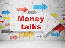 Finance concept: arrow with Money Talks on grunge wall background. Finance concept:  arrow with Money Talks on grunge textured concrete wall background, 3D Royalty Free Stock Photos