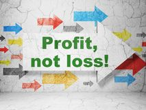 Finance concept: arrow with Profit, Not Loss! on grunge wall background. Finance concept: arrow with Profit, Not Loss! on grunge textured concrete wall royalty free stock photos