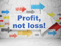 Finance concept: arrow with Profit, Not Loss! on grunge wall background. Finance concept:  arrow with Profit, Not Loss! on grunge textured concrete wall Stock Images