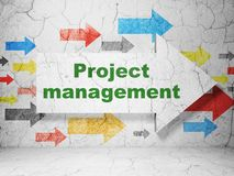 Finance concept: arrow with Project Management on grunge wall background Stock Photos
