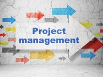 Finance concept: arrow with Project Management on grunge wall background. Finance concept:  arrow with Project Management on grunge textured concrete wall Stock Photo
