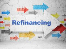 Finance concept: arrow with Refinancing on grunge wall background. Finance concept:  arrow with Refinancing on grunge textured concrete wall background, 3D Royalty Free Stock Photos