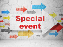 Finance concept: arrow with Special Event on grunge wall background. Finance concept:  arrow with Special Event on grunge textured concrete wall background, 3d Stock Photography