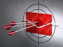 Finance concept: arrows in Email target on wall. Success finance concept: arrows hitting the center of Red Email target on wall background, 3d render Royalty Free Stock Image