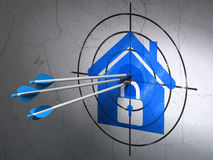 Finance concept: arrows in Home target on wall. Success finance concept: arrows hitting the center of Blue Home target on wall background, 3d render Royalty Free Stock Photography