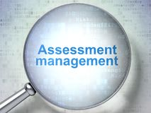 Finance concept: Assessment Management with optical glass. Finance concept: magnifying optical glass with words Assessment Management on digital background, 3D Royalty Free Stock Photography