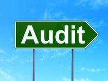 Finance concept: Audit on road sign background. Finance concept: Audit on green road highway sign, clear blue sky background, 3D rendering Royalty Free Stock Images