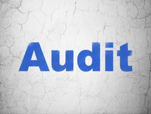 Finance concept: Audit on wall background. Finance concept: Blue Audit on textured concrete wall background Stock Images