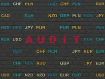 Finance concept: Audit on wall background. Finance concept: Painted red text Audit on Black Brick wall background with Currency Stock Photography