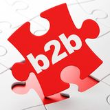 Finance concept: B2b on puzzle background. Finance concept: B2b on Red puzzle pieces background, 3D rendering Stock Image