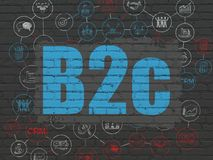 Finance concept: B2c on wall background. Finance concept: Painted blue text B2c on Black Brick wall background with Scheme Of Hand Drawn Business Icons Royalty Free Stock Images