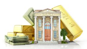 Finance concept. Bank building with gold and money on a white. stock illustration