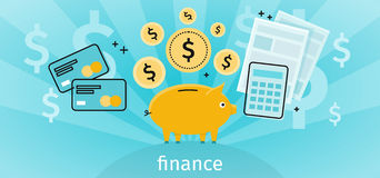 Finance Concept Banner Design Flat. Pig piggy bank with gold dollar coins. Financial documents and credit card calculator. Conceptual banner with finances to Royalty Free Stock Photos