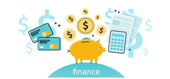 Finance Concept Banner Design Flat. Pig piggy bank with gold dollar coins. Financial documents and credit card calculator. Conceptual banner with finances to Stock Image