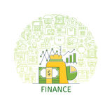 Finance concept banner. Finance concept. Design template with flat line icons on theme market analysis, financial planning, financial management and investment Stock Photo