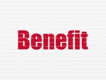 Finance concept: Benefit on wall background. Finance concept: Painted red text Benefit on White Brick wall background Royalty Free Stock Images