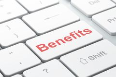Finance concept: Benefits on computer keyboard background. Finance concept: computer keyboard with word Benefits, selected focus on enter button background, 3D Stock Photos