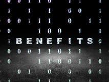Finance concept: Benefits in grunge dark room Stock Image