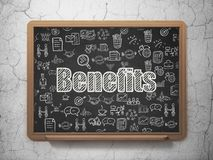 Finance concept: Benefits on School board background. Finance concept: Chalk White text Benefits on School board background with  Hand Drawn Business Icons, 3D Royalty Free Stock Photo