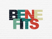 Finance concept: Benefits on wall background. Finance concept: Painted multicolor text Benefits on White Brick wall background, 3d render Stock Images