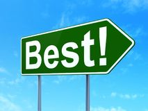 Finance concept: Best! on road sign background. Finance concept: Best! on green road highway sign, clear blue sky background, 3D rendering Royalty Free Stock Photography