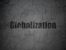 Finance concept: Globalization on grunge wall background. Finance concept: Black Globalization on grunge textured concrete wall background Royalty Free Stock Image