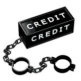 Finance concept: Black shackles with word credit. Isolated on white background. 3D render Stock Images
