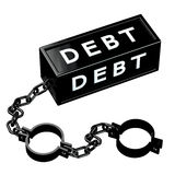 Finance concept: Black shackles with word debt Stock Photo