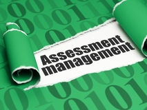 Finance concept: black text Assessment Management under the piece of  torn paper. Finance concept: black text Assessment Management under the curled piece of Royalty Free Stock Photography