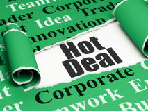 Finance concept: black text Hot Deal under the piece of  torn paper. Finance concept: black text Hot Deal under the curled piece of Green torn paper with  Tag Royalty Free Stock Photos
